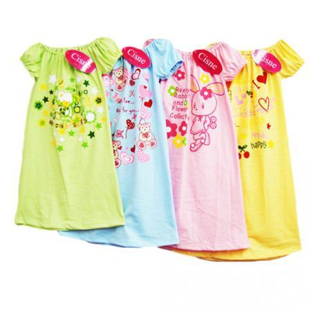 ชุดนอนเด็ก สีหวาน คอยางยืด สำหรับ 5-10 ขวบ